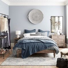 This is a Bedroom Interior Design Ideas. House is a private bedroom and is usually hidden from our guests. Much of our bedroom … Blue Master Bedroom, Cozy Bedroom, Home Decor Bedroom, Bedroom Furniture, Bedroom Ideas, Blue Gray Bedroom, Gray Furniture, Blue Bedrooms, Bedroom Small