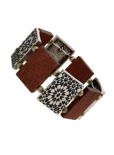 Wood Etched Stretch Bracelet @ topman.com