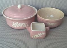 3 piece set of Vintage Pink Cameo Ware Harker Pottery 2 Quart With Lid, Bowl
