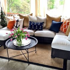 color and nautical touches liven up your sunroom