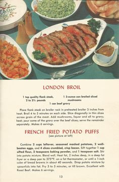 Vintage Recipes: Meat Recipes Part 1 Retro Recipes, Old Recipes, Vintage Recipes, Cookbook Recipes, Meat Recipes, Dinner Recipes, Cooking Recipes, 1950s Recipes, Cooking Ideas