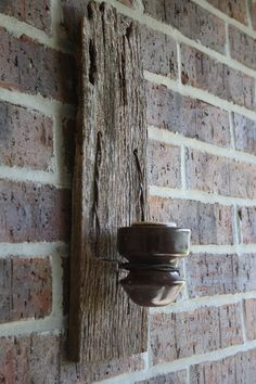 Reclaimed Barn Wood Recycled Candle Sconces with Vintage Insulator. I need to make these.