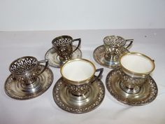 Set/5 Frank Whiting Sterling Silver Demitasse Cup Liners w 2 Lenox Inserts 200 G #WhitingManufacturingCo