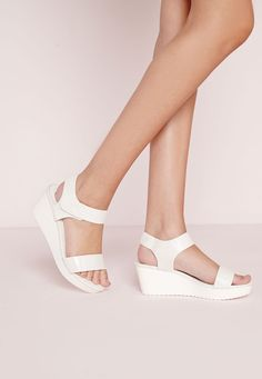 Missguided - Sport Lux Wedge Sandal White Snake