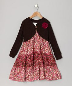 Take a look at this Brown & Fuchsia Floral Cardigan Dress - Toddler & Girls by Rare Editions on #zulily today! Wish cardigan was not attached. I love the dress style.