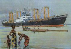 laden van boomstammen in west-afrikaanse havens in jaren '70