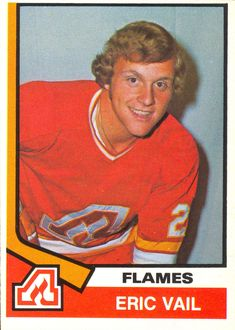 Career highlights and stats for Eric Vail. Vail played in the National Hockey League with the Flames and Red Wings. Eric was a Calder Trophy winner. Hockey Cards, Baseball Cards, National Hockey League, Nhl, 1930s, Atlanta, Sporty, Vintage