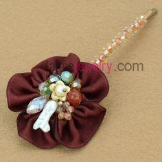 Fashion maroon color flower model decoration hair clip