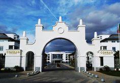 The front gate of the Conrad Algarve resort in Portugal.