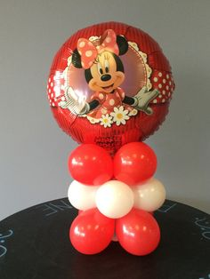 Minnie or Mickey Mouse DIY Balloon Column – Party Products  Air filled table top column with Mickey Mouse or Minnie Mouse foil (mylar) balloon.    Kit includes mylar balloon, latex balloons, instructions and link to step by step how to video tutorial.   About 10 inches wide and 18 inches tall when fully inflated.  Balloons are shipped flat.   Does not include balloon pump Save 20% off of your order when you enter the coupon code PIN20 at checkout