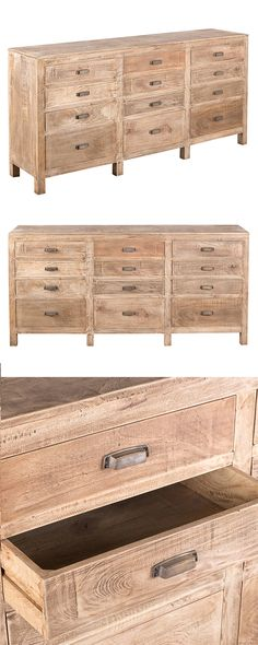 Your living space is long overdue for a chic update. Inspired by classic library catalogues, this Kingston Sideboard is decorated with label-style drawer pulls. Made from warmly finished plantation-cut...  Find the Kingston Sideboard, as seen in the 3 Secrets for Mixing Rustic & Mid-Century Collection at http://dotandbo.com/collections/3-secrets-for-mixing-rustic-and-mid-century?utm_source=pinterest&utm_medium=organic&db_sku=118255