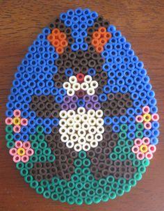 Påske hama perleplade påskeæg med hare Easter hama beads Easter egg