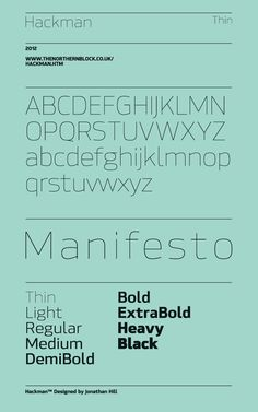 Hackman - Typeface by Jonathan Hill, via Behance
