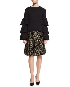 Tiered-Sleeve+Knit+Sweater+&+High-Waist+Metallic+Skirt+by+Co+at+Neiman+Marcus.