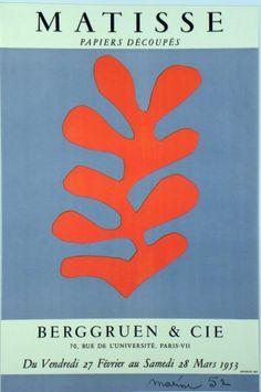 Original Künstler Plakat Matisse Original Artist Poster Matisse Affiche original Henri Matisse title Matisse, paper découpés  technology Lithograph in 2 colors