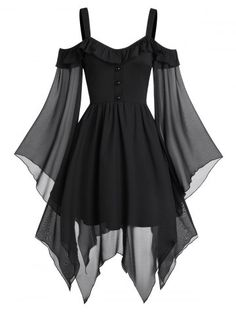They are beautiful, lovable and affordable. You deserve it! Butterfly Sleeve Cold Shoulder Lace-up Handkerchief Gothic dress-Gothic dress victorian,Gothic dress elegant,Gothic dress casual,Gothic dres Elegant Dresses, Pretty Dresses, Beautiful Dresses, Awesome Dresses, Black Gothic Dress, Dress Black, Goth Dress, Dress Prom, Dress Wedding