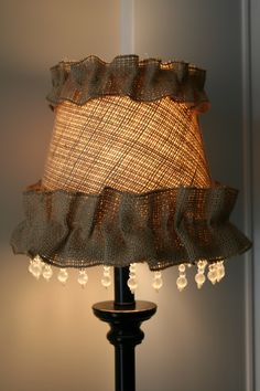 DIY Burlap Lampshade - @KD Eustaquio Craft...could you make this?? ;)