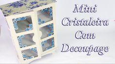 Miniatura de Cristaleira com Decoupage de Guardanapo e Craquele