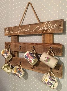 Free up some cupboard space with this rustic coffee mug rack! Its the perfect ki… Free up some cupboard space with this rustic coffee mug rack! Its the perfect kitchen storage for all your mugs and tea cups. Details: The coffee - Type Of Kitchen Storage Coffee Mug Storage, Coffee Cup Rack, Coffee Mug Holder, Coffee Mugs, Tea Holder, Cup Holders, Diy Pallet Projects, Home Projects, Palette Deco