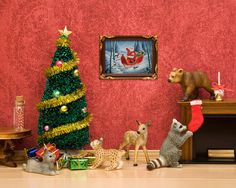 Christmas art with woodland animals red and by WildLifePrints - Print of a diorama