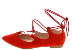 RYLEE RED POINTED TOE LACE UP WOMEN'S FLAT ONLY $10.88