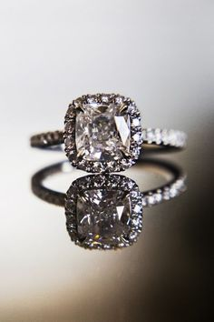 My engagement ring: Harry Winston cushion cut with micro pave