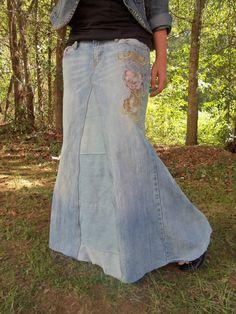 """Jean skirt... LONG AND FEMININE """"A""""/jeans/flower"""