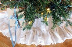 48 inch Ruffled Linen Christmas Tree Skirt
