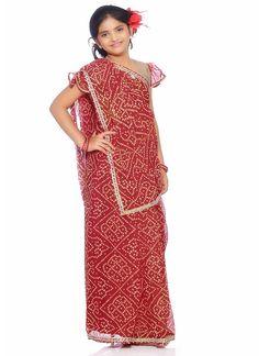 Red Gold Chiffon Lehenga Choli  #kids wear, #kids sarees, #kids dresses, #baby dresses