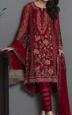 Pakistani Dresses online shopping in USA, UK. Pakistani Dresses Online, Pakistani Outfits, Indian Dresses, Indian Outfits, Pakistani Clothing, Emo Outfits, Shalwar Kameez Pakistani, Churidar, Red Chiffon