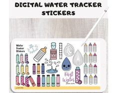 Fun Digital water tracker stickers for daily hydration Tracking Goal Tracking, Planner Book, Productive Day, Planner Organization, Setting Goals, Handmade Items, Handmade Gifts, Planner Stickers, Etsy Seller