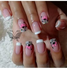 French Acrylic Nails, French Nails, Toe Nail Art, Toe Nails, Gel Nail Designs, Cute Nail Designs, Short Square Nails, Rhinestone Nails, Flower Nails