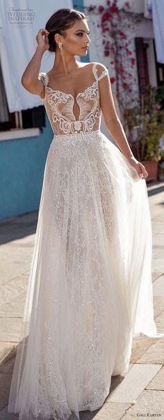 gali karten 2018 bridal cap sleeves scoop neckline heavily embellished bodice romantic soft a line wedding dress keyhole back medium train (2) lv