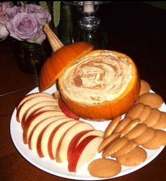 Fall Dessert Dip (Cool whip, vanilla pudding mix, can of pumpkin)  1 - 15oz can of pumpkin 1 - 5oz box of instant vanilla pudding (unprepared, just use the powder) 1 - 16oz container of cool whip 1/2 tbsp pumpkin pie spice 1/2 tbsp cinnamon  1 small pumpkin to use as a bowl  Mix all ingredients together, chill for several hours. Put the dip in the pumpkin, sprinkle with cinnamon.  Serve with apples, nilla wafers or graham crackers.    Delish!