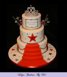 Red Carpet cake for a 30th birthday celebration with tiara.