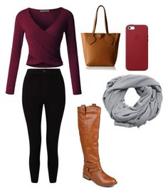 """""""Casual School Day Outfit #26"""" by seragart on Polyvore featuring LE3NO, Anne Klein, Journee Collection, Miss Selfridge, Apple and MANGO"""