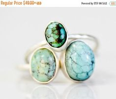 NO JOKE SALE Recycled Sterling Silver Genuine Turquoise Oval Ring / Chic Boho Jewelry / Simple Turquoise Ring / Simple Rings / Tibetan Turqu by amywaltz #TrendingEtsy
