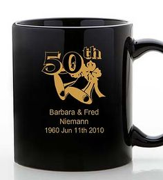 Celebrate a golden anniversary with these 50th anniversary black mugs - personalized gifts for all your party guests. $3.69 for 77 or more.
