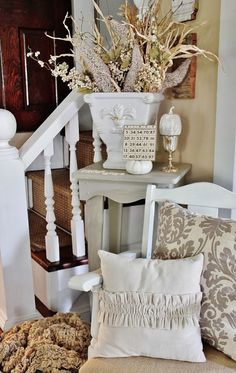Trash to Treasure, love the little ruffled pillow on the chair.