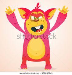 Happy cartoon monster. Halloween vector horned monster smiling. Isolated