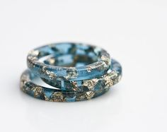 Resin Stacking Ring Sapphire Blue Gold Flakes Thin by daimblond, €22.00