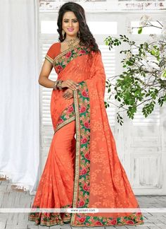 Gratifying Patch Border Work Orange Georgette Classic Saree Model: YOSAR9687