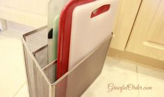 Filing cutting boards in an office organizer and other great ideas for kitchen organizing