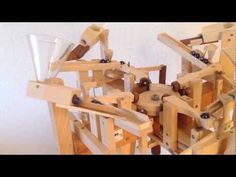 Fantastic handmade wooden marble machine ,Quatro, by Paul Grundbacher 's Marble Machine, Rolling Ball Sculpture, Rube Goldberg Machine, Kinetic Art, Marble Wall, Wood Toys, Kugel, Motion Design, Handmade Wooden