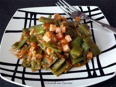 Judías verdes con tomate y pavo