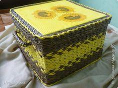 Поделка изделие Плетение Короб для клубочков Бумага газетная фото 1