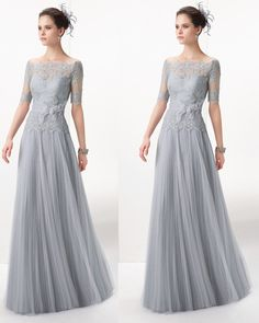 Silver Elegant Mother Evening Dress Lace Off the Shoulder Tulle Long Formal Mother of the Bride Dresses With Sleeves 2015