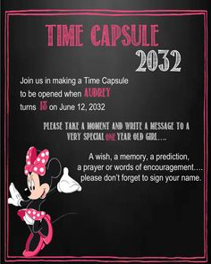 Minnie Mouse Time Capsule Sign for a First Birthday by YourSweetDetails on Etsy