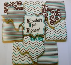 Bachelorette Cookies by Sweet Melissa's Cookies: Chevron, Stripes and Scrolls on Texas cookies and Squares
