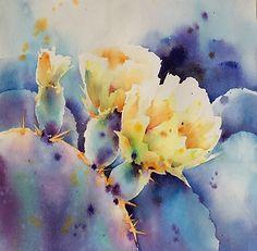 Cactus lights by Yvonne Joyner Watercolor ~ 18 in. x 18 in.